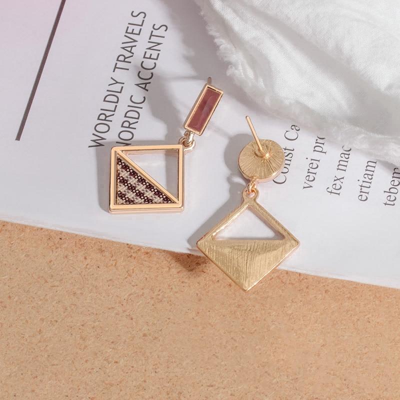 New Korean Geometric Statement Drop Earrings 2020 for Women Fashion Vintage Acrylic Brown Gold Dangle Hanging Earrings Jewelry