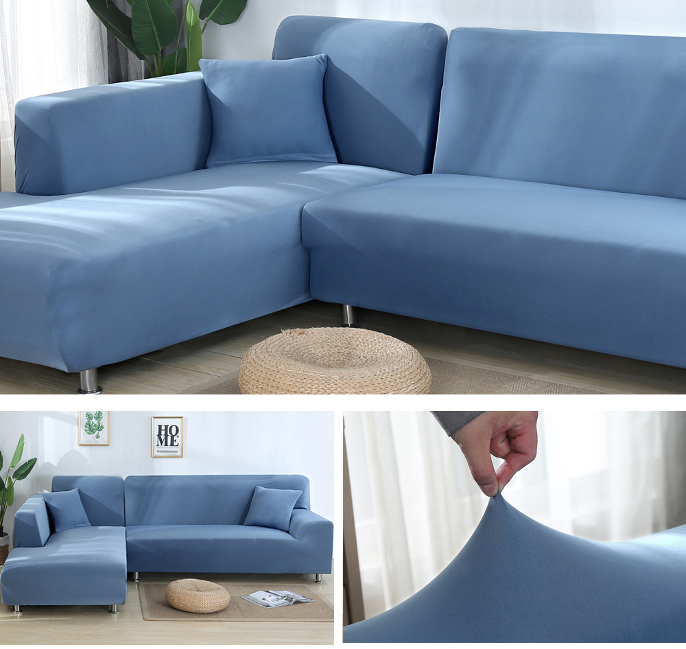 2Pcs Sofa Cover for Living Room Couch Cover Elastic L Shaped Corner Sofas Covers Stretch Chaise Longue Sectional Slipcover