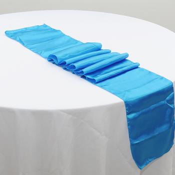 10 sztuk partia 30*275cm granatowy ślub satynowy bieżnik dekoracji jadalnia bordowy stół Tunners na obrus na imprezę akcesoria tanie i dobre opinie Printed Woven Home Hotel 100 Polyester Solid Satin Table Runner