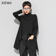 XITAO Vintage Camiseta con cuello de tortuga negra para mujer, Tops irregulares de manga larga informales Kawaii de talla grande, ropa coreana, ZLL1177