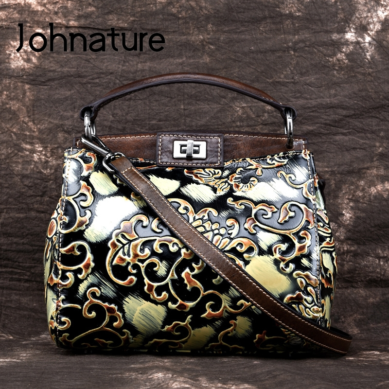 Johnature Vintage Hand Painted Luxury Handbags Women Bag 2019 New Genuine Leather Embossed Floral Hasp Shoulder&crossbody Bags
