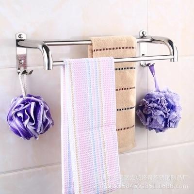 Bathroom Stainless Steel Towel Bar Bathroom Towel Rack Single Pole Double Poles Lengthen Toilet Bathroom Wall Hangers Hole Punch|  - title=