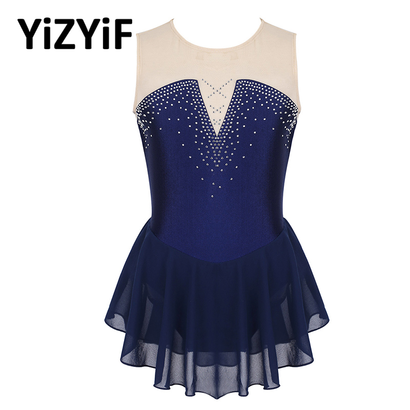 Kids Girls Gymnastics Leotard Dress Leotard Ballet Sparkly Inlaid Rhinestone Mesh Splice Figure Skating Dress Ballet Dance Wear