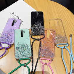 Ultra-thin Bling Glitter Lanyard Silicone Phone Case For Xiaomi Redmi Note 9 8 7 Mi 10 9 T 8 Lite Pro Luxury Necklace Rope Cover