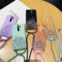 Custodia per telefono in Silicone con cordino Glitter Ultra sottile per Xiaomi Redmi Note 9 8 Mi 11 10 9 T Lite Pro collana di lusso con cordino