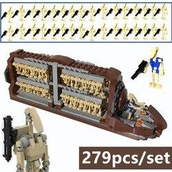 Novo moc estrela filme série espacial guerras batalha transporte batalha droid pelotão ataque artesanato blocos de construção tijolos crianças brinquedos
