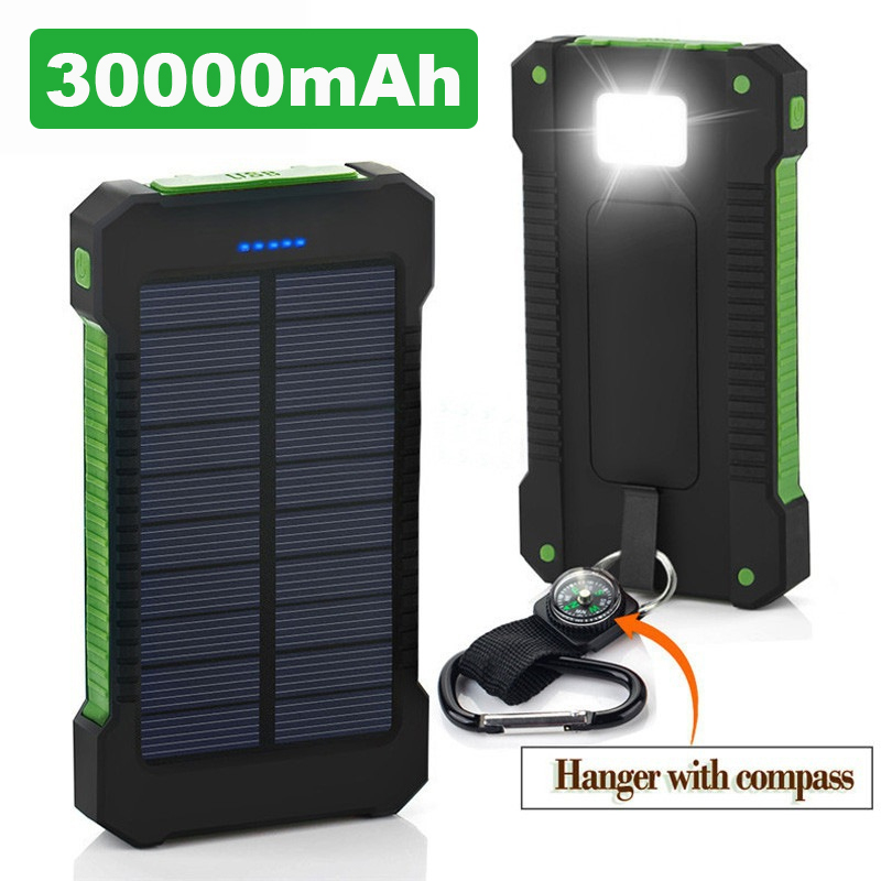 Hot Solar Power Bank Waterproof 30000mAh Solar Charger 2 USB Ports External Charger Powerbank For Xiaomi MI IPhone 8 Smartphone