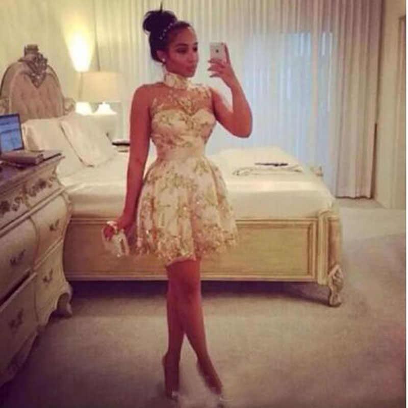 זהב אפריקאי אפליקציות תחרה עטוף אונליין קוקטייל שמלות פשוט ללא שרוולים גבוה צוואר באורך הברך המפלגה שמלת коктейльное платье