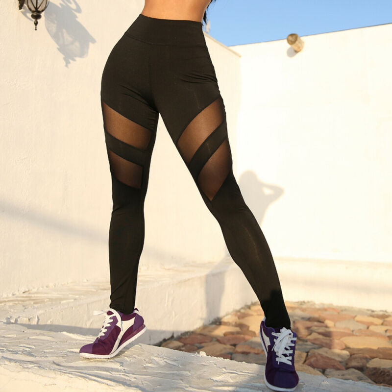 Women Sport Leggings High Waist See-through Mesh Hips Patchwork Leggings Fitness Running Workout Gym Trouser