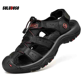 Classic Mens Sandals Summer Soft Comfortable Men Shoes Genuine Leather Big Size Outdoor Roman