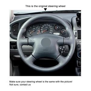 Image 3 - Capa de volante do carro de couro sintético do plutônio preto costurado à mão para nissan almera (n16) x trail (t30) terrano 2 almera tino
