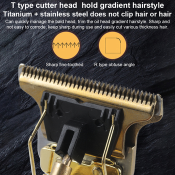 T Bald Head Hair Clipper Mower Rechargeable Trimmer T-Outliner Barber Shaving Machine Vintage Cordless Haircut Men Cutter Shaver 4