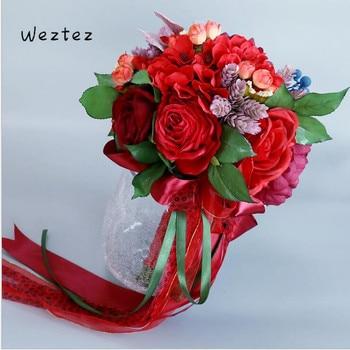 Wedding Bouquet Artificial Flower Bridal Bridesmaid Flower Rose Bouquet Crystal Bridal Bouquets SPH76
