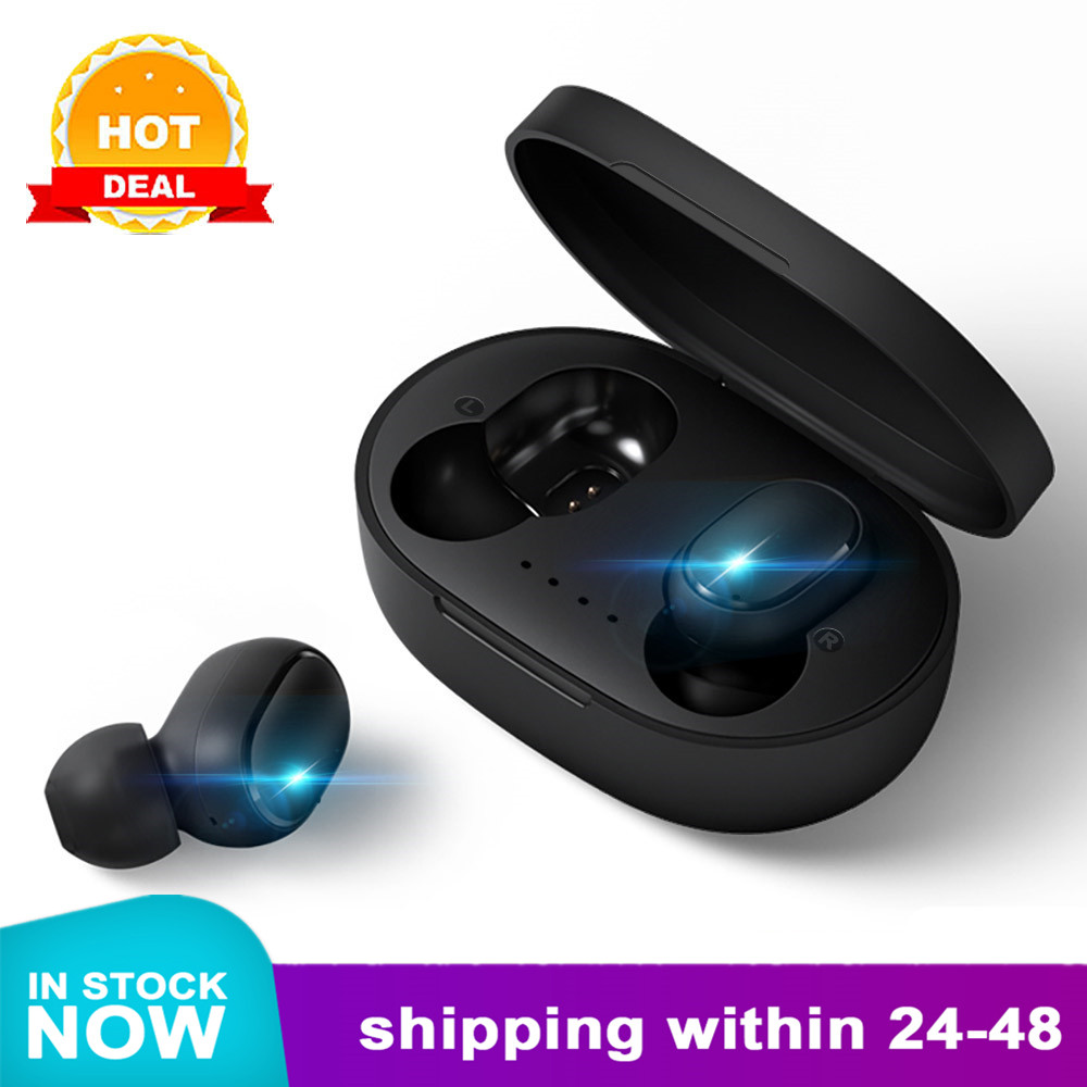 A6S Bluetooth Headsets For Redmi Airdots Wireless Earbuds 5.0 TWS Earphone Noise Cancelling Mic For Xiaomi IPhone Huawei Samsung