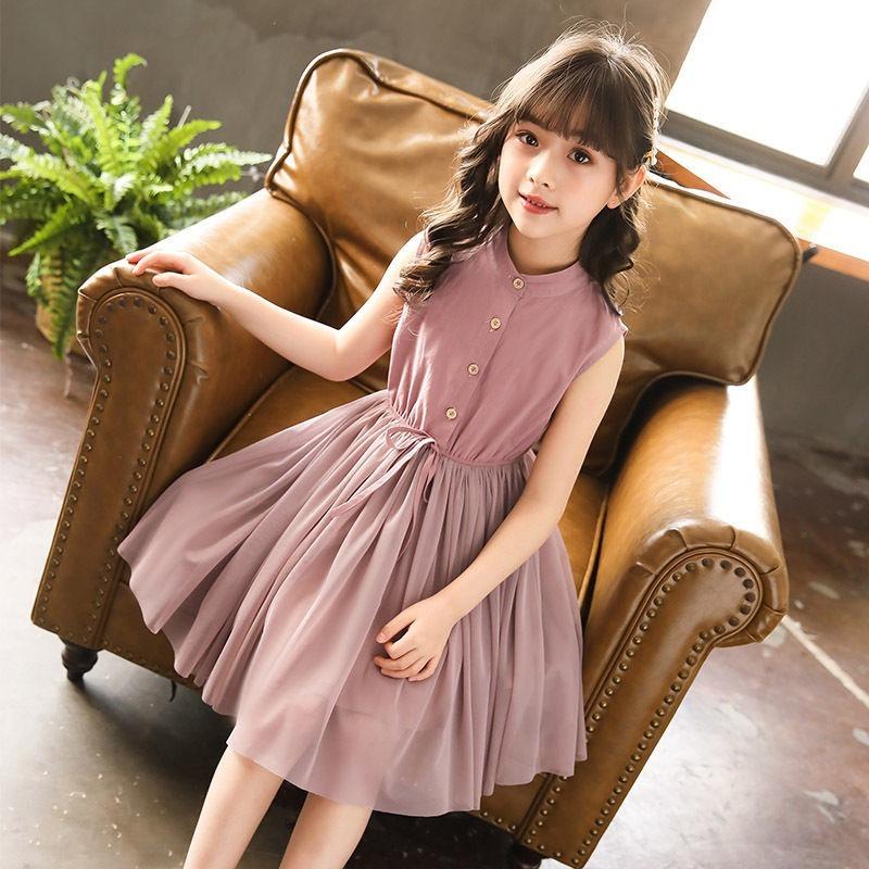 2021 New Summer Girls Dress 12 Children's Clothing 11 Clothes 10 Children 9 Fashion Vest Net Yarn Dresses 8 Kids 7 6 5 Years Old