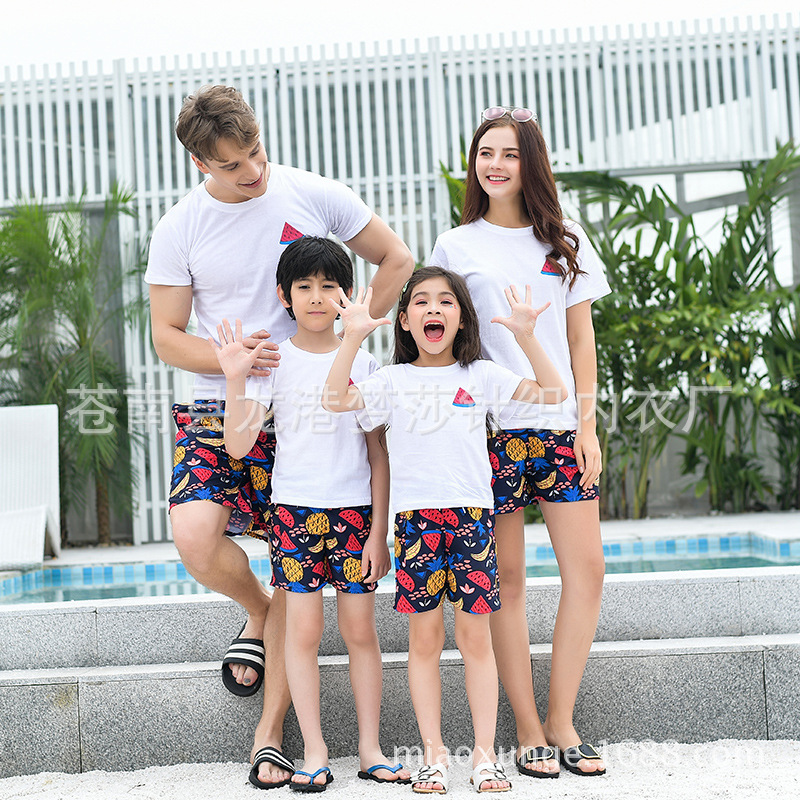 Beach Parent-child Matching Outfit Kids' Beach Shorts Fruit Pattern Summer Wear 2018 New Style Seaside Travel Three 4-Mouth Moth
