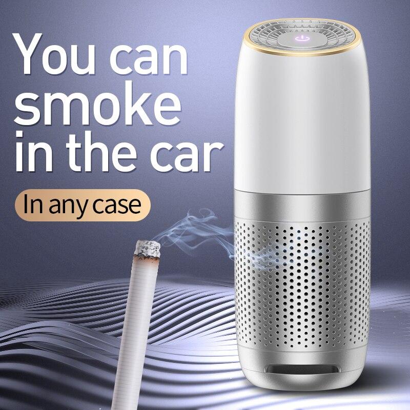Mini purificador de aire portátil para coche USB HEPA aire fresco negativo ión limpiador de oxígeno elimina los olores de humo PM2.5 ionizador
