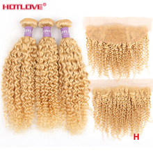 "Brazilian 613 Blonde Kinky Curly Bundles With Frontal Closure Remy High Ratio 8-28"" Human Hair Bundles with Lace Frontal Closure(China)"
