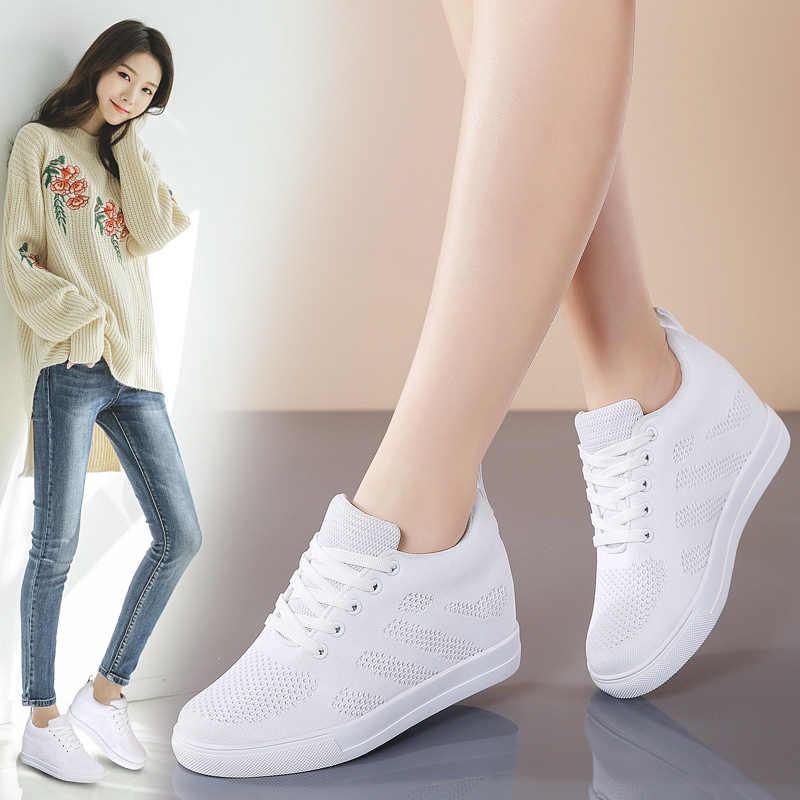 Damskie trampki wysokość zwiększenie 6cm buty damskie na platformie zasznurować siatki casualowe buty sportowe kobieta trenerzy czarne białe buty 799