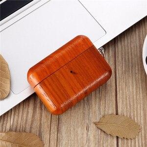 Image 3 - 2019 luksusowe ręcznie drewniane etui do AirPods Pro z litego drewna pokrowiec ochronny z anty zgubioną klamrą do Airpods 3