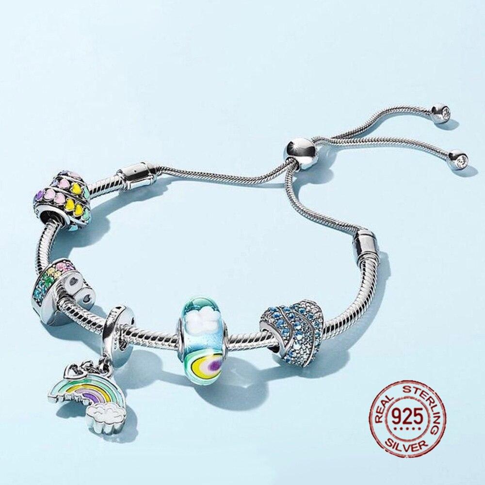 Nouveau 100% 925 Bracelet en argent Sterling costume 2018 nouveau ensemble paillettes instantanée glisser brillant MOMENTS coulissant Bracelet bricolage cadeau