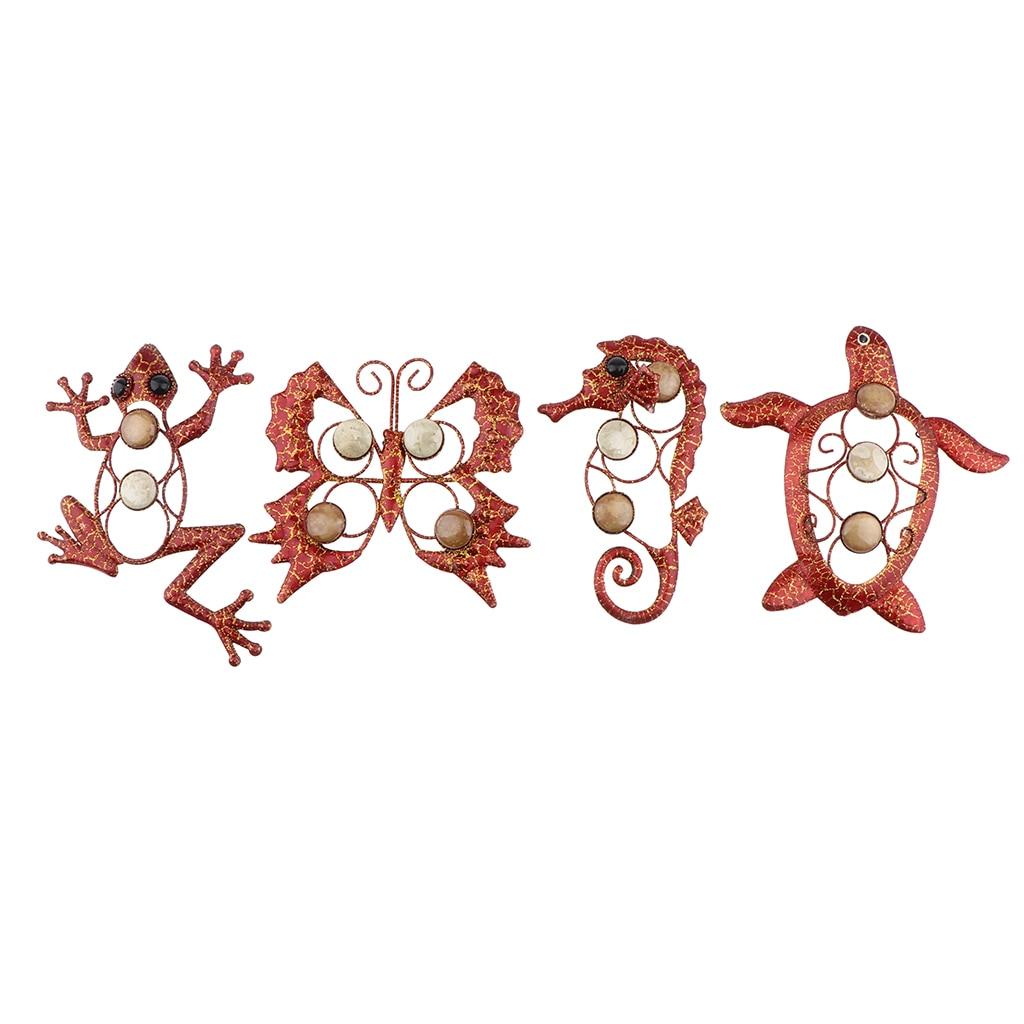 4pcs Garden Metal Decor 3D Animals Wall Art Ornament Figurer Outdoor Indoor Decor Gecko/ Sea Horse/ Butterfly/ Tortoise