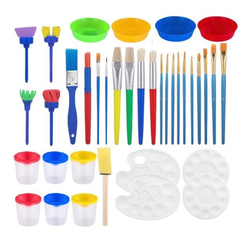 DIY Painting Brush Set Children's Paint Brushes Paint Tool Kit for Beginner Painting Practice,Sponge Paint Brushes Set