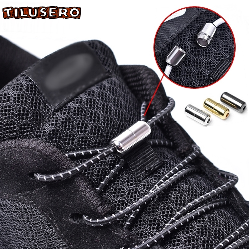 1Pair Elastic No Tie Shoelaces Metal Lock Round Shoe Laces Kids Adult Sneakers Quick Shoelaces 100cm Round Shoe Laces Strings