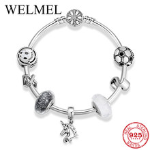 High Quality 925 Sterling Silver Bangles with Snowflake Unicorn Letter Bead European Charm Bracelet for Women DIY Jewelry Making(China)