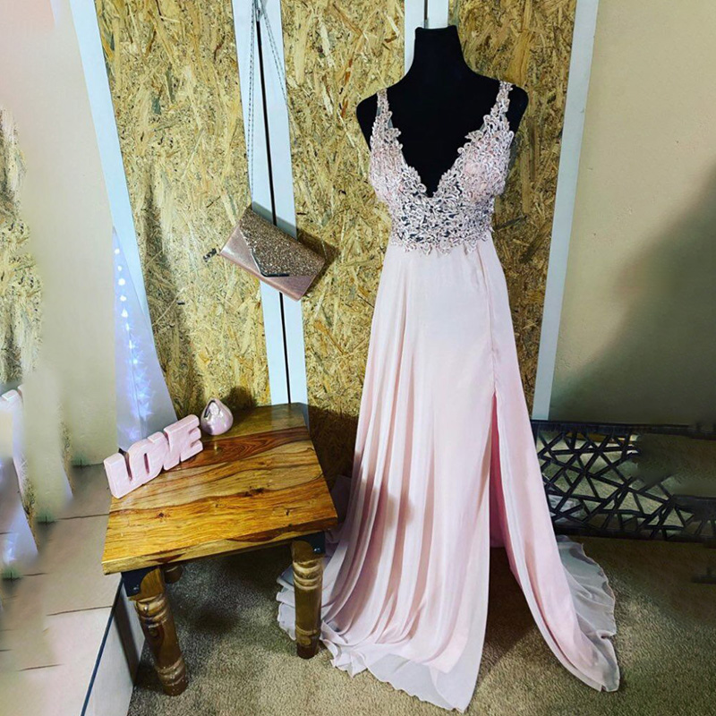 Bridemaid Dresses Vestido Longo New Cheap Pink Appliques Bridesmaid Gowns Wedding Party Dress Vestido Real Photos Custom Made