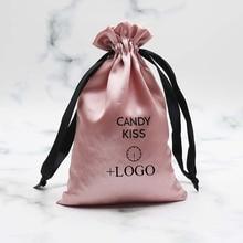 20PCS Virgin Hair Extensions Packaging Satin Bag Custom Logo Print Drawstring