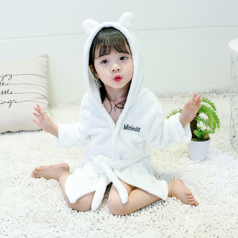 Children Flannel Cartoon Bathrobe Winter 2018 New Style Men And Women Children Korean-style Lettered Embroidered Ear Coral Velve