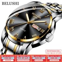 BELUSHI-reloj de cuarzo deportivo para hombre, cronógrafo luminoso de lujo, de acero inoxidable, con fecha, resistente al agua