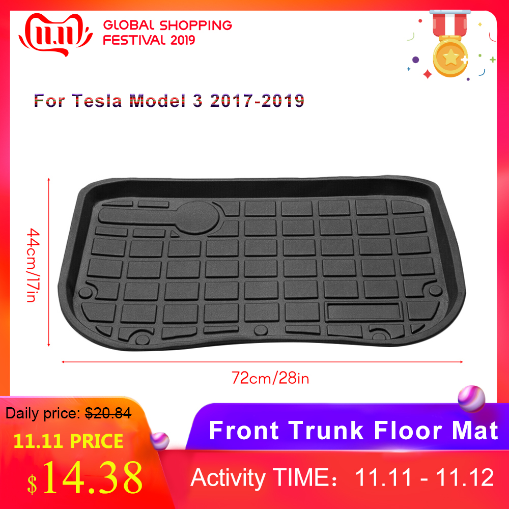 For Tesla Model 3 2017-2019 1PC Waterproof Front Trunk Floor Mat TPE Material Cargo Tray Anti-dust Boot Cargo Liner Black