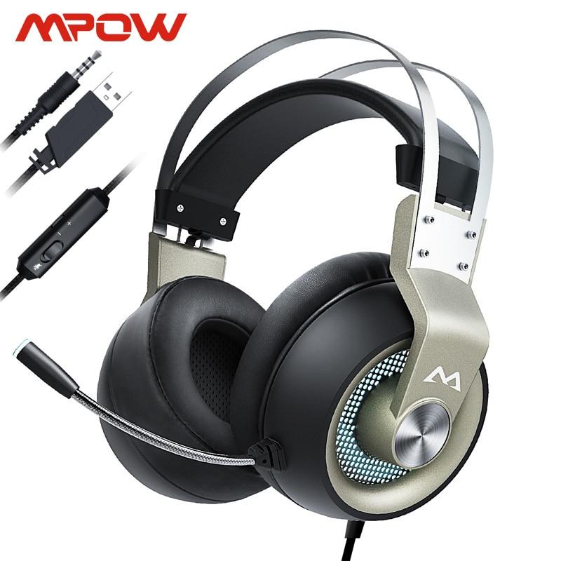 Mpow EG3 Pro słuchawki gamingowe do ipada PS4 PC Tablet do laptopa telefony 3.5mm kabel Jax i USB obsługa głośności/mikrofonu sterownik 50mm