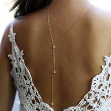 Новые искусственные жемчужные декоративные ожерелья сзади цепи ювелирные изделия для женщин вечерние свадебные платья с открытой спиной аксессуары