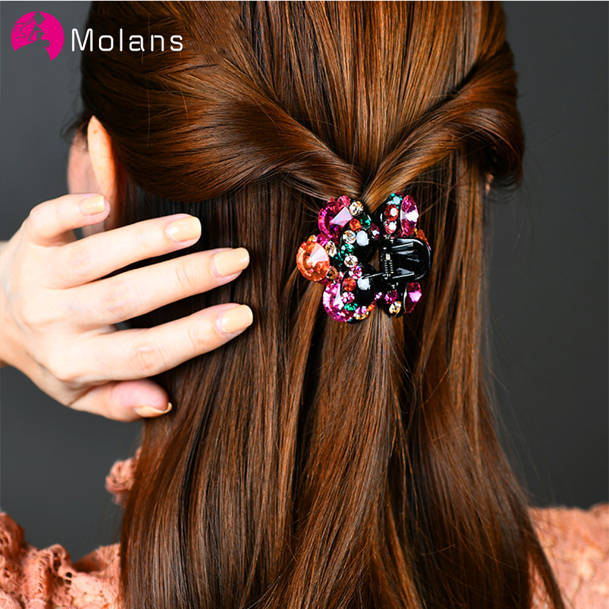 2 Pcs Small Hair Claw Clips For Women 2020 New Crystal Hair Claw Vintage Hair Clip Mini Plastic Hairpin Hair Accessory For Women