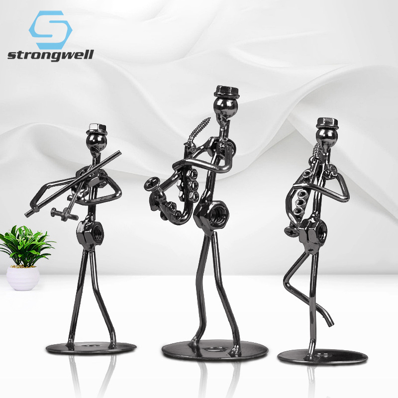 Strongwell Retro Iron Man Sculpture Band Instrument Musician Figure Doll Model Crafts Ornaments Home Decoration Accessories Gift