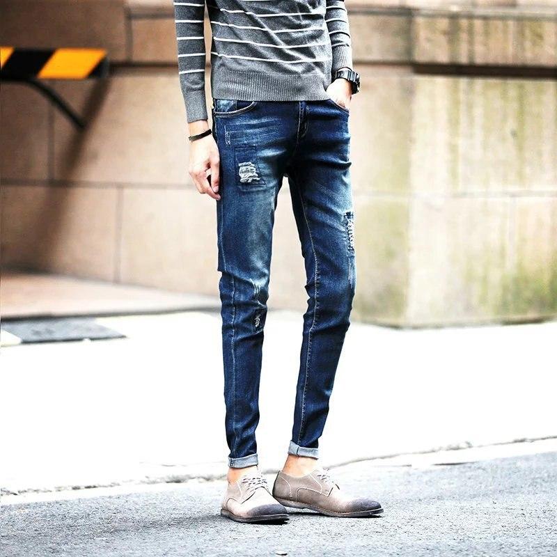 2019 New Style With Holes Jeans Men's Thin Skinny Pants Street Fashion Slim Fit Korean-style Pants Capri Men's Cool