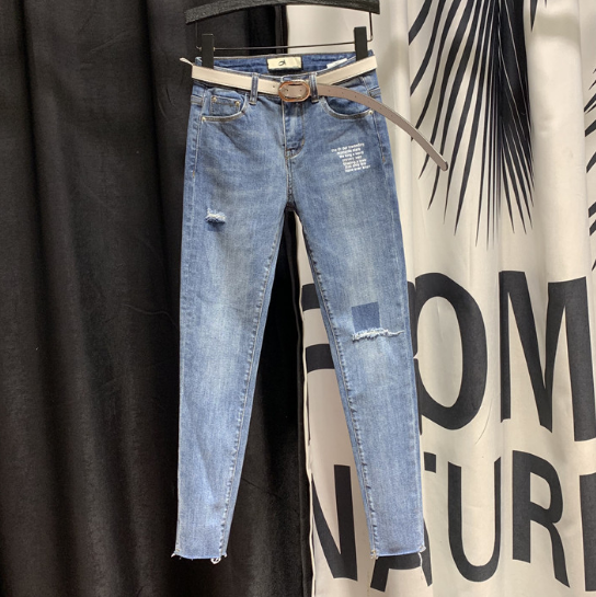 Plus Size Ripped Jeans For Woman Spring New Korean Version Ladies Blue Denim Pants Skinny Pencil Pants Jean Mujer High Waist
