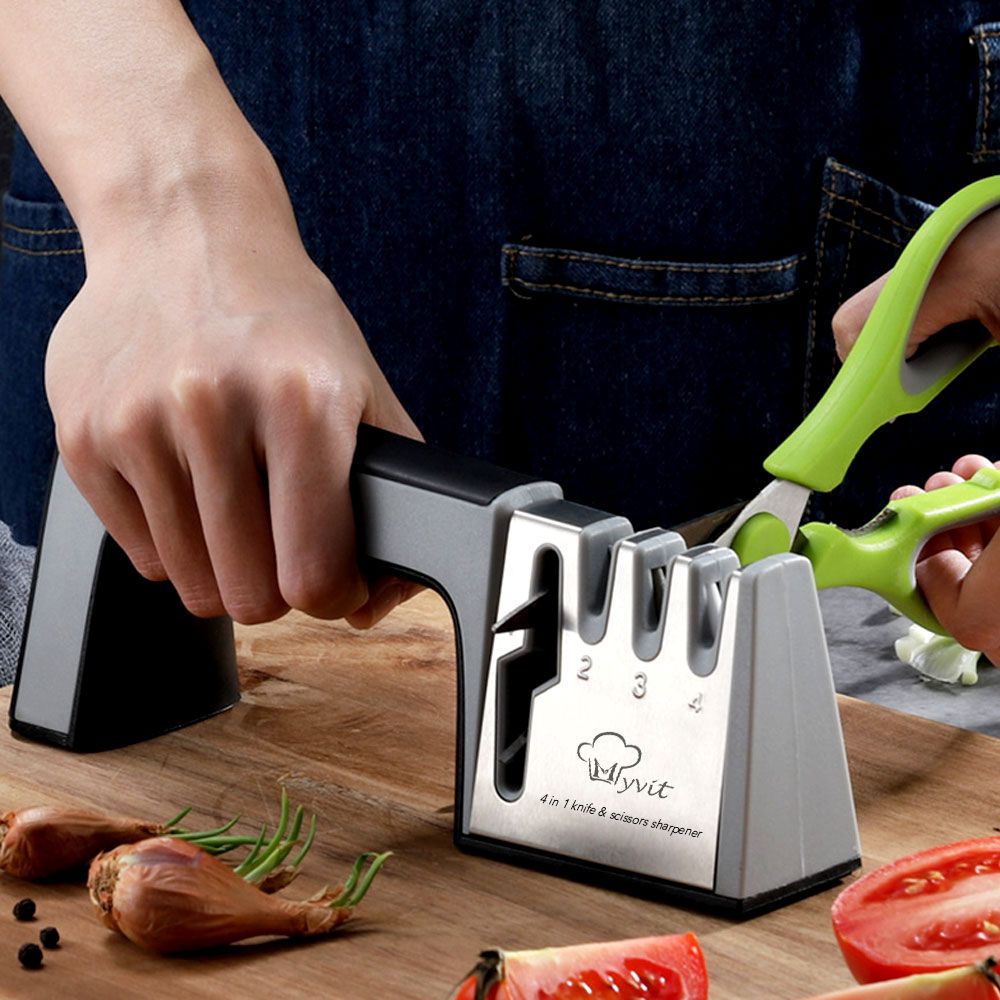 Knife Sharpener 4 in 1 Diamond Coated&Fine Rod Knife Shears and Scissors Sharpening stone System Stainless Steel Blades