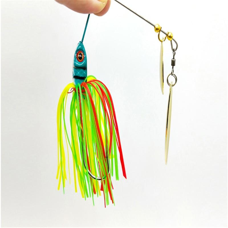 1Pcs19.5gスピナーベイトジグ金属餌スピナースプーン低音餌スパンコール釣具ルアーパイクwobblers鯉釣りフック
