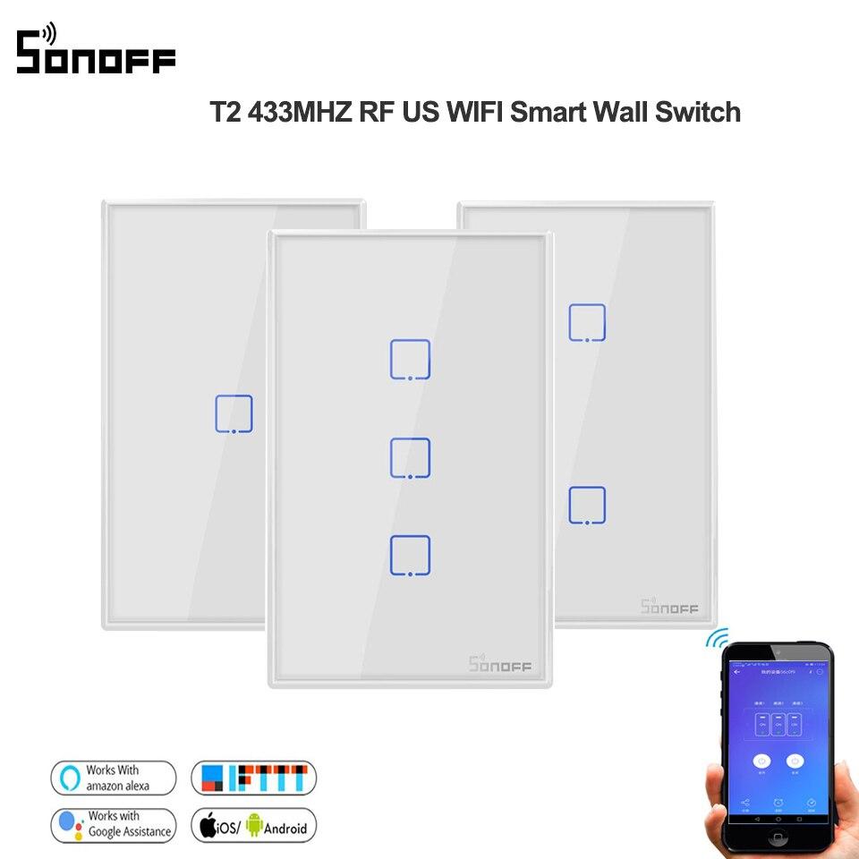 Sonoff T2 EUA 1/2/3 quadrilha Inteligente Wifi Temporizador interruptor de luz parede de Controle Remoto Interruptor de toque RF433mhz trabalhar com Alexa/google casa