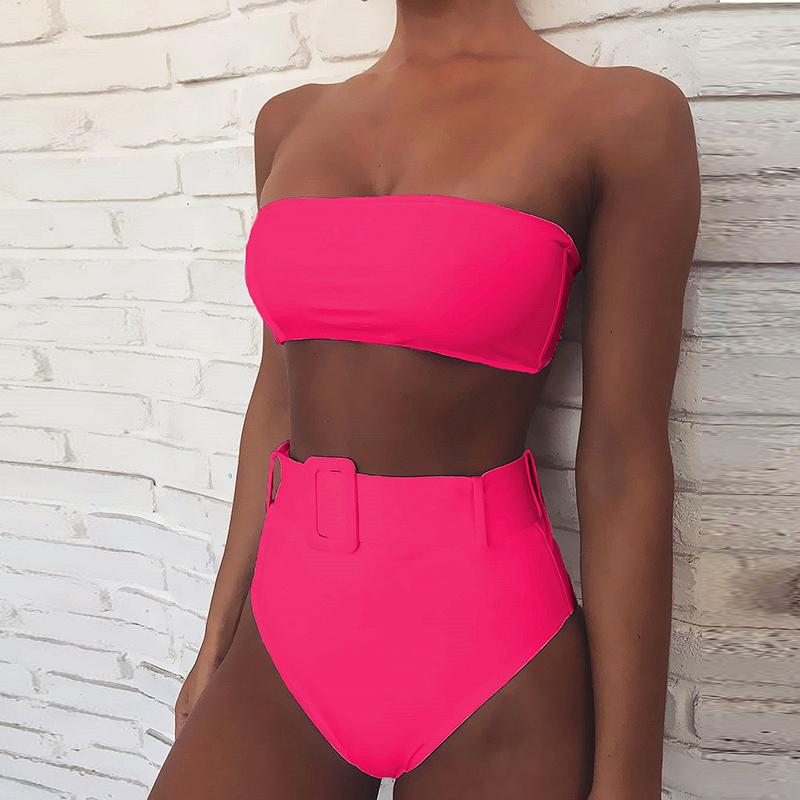 High Waist Bikini 2021 Sexy Black Swimwear Women Swimsuit High Leg Bandeau Bikinis Set Swimming for Bathing Suit Woman Swimsuits