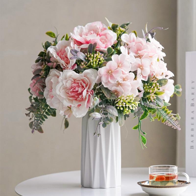 Искусственные цветы из белой розы, букет из высококачественного шелка, Декор для дома, свадьбы, пластиковые искусственные цветы