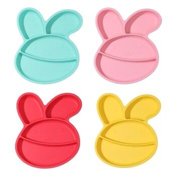 Dziecko silikonowy królik kształt podzielony miska zasysająca dzieci płytki talerz naczynia dla niemowląt