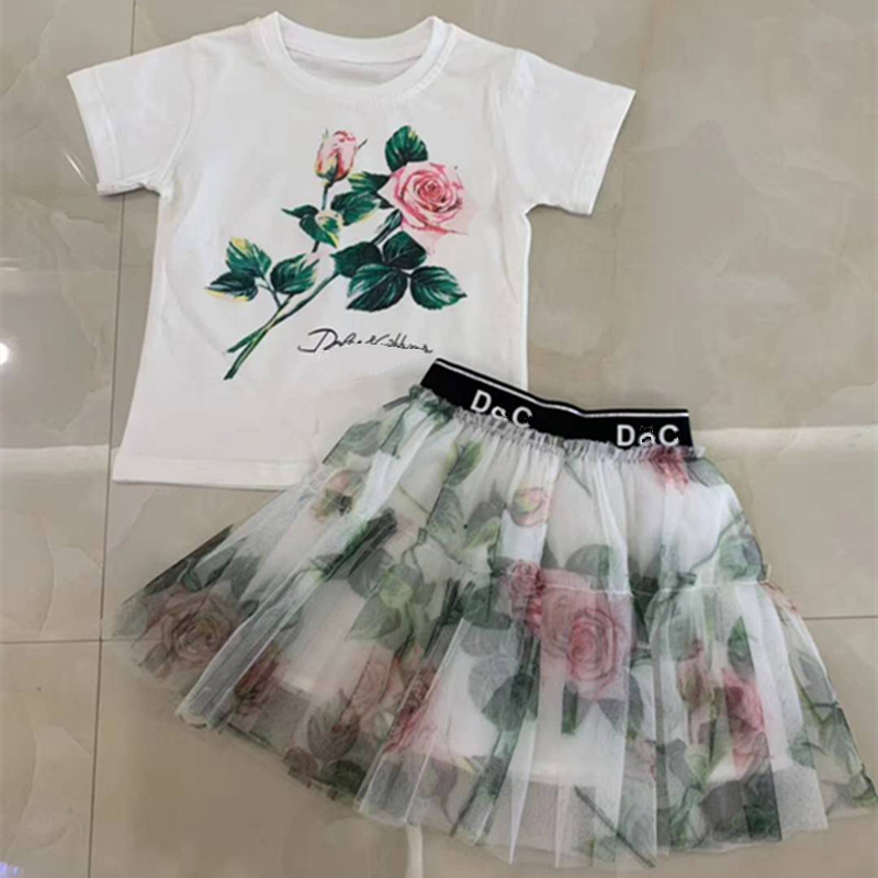 Girl's Fashion Mesh Set Girls' Summer Fashion Brand Set