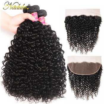Nadula Hair Malaysian Curly Hair With Frontal 13*4 Lace Frontal With 3 Bundles Human Hair Weaves Natural Remy Hair - DISCOUNT ITEM  30% OFF All Category