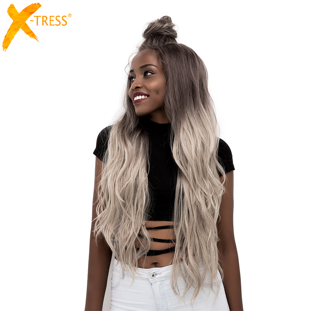 Ombre Grey Color Moon Part Synthetic Lace Front Wigs Long Body Wave Free Part Brown Purple Women Hair Wig With Baby Hair X-TRESS