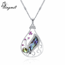 lingmei Womens Fashion Abalone Shell Wedding Jewelry Multicolor Zircon Silver Pendant Necklace Chain Anniversary Dazzling Gifts